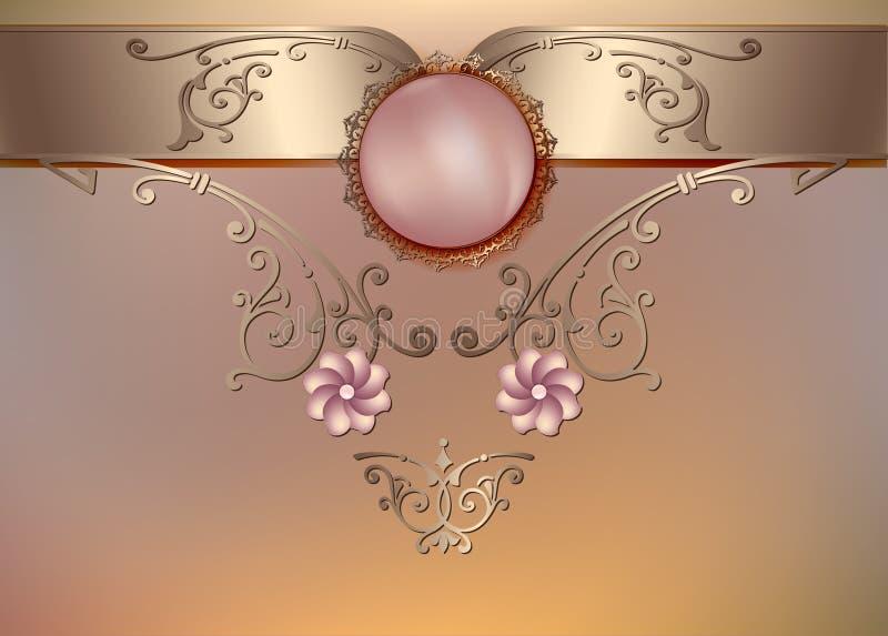 Uitstekende bloemenachtergrond met parels en ornament royalty-vrije illustratie