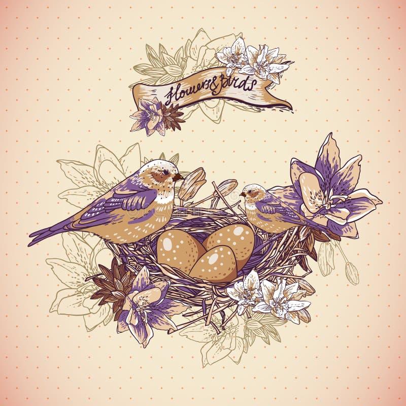 Uitstekende bloemenachtergrond met vogels en nest stock illustratie