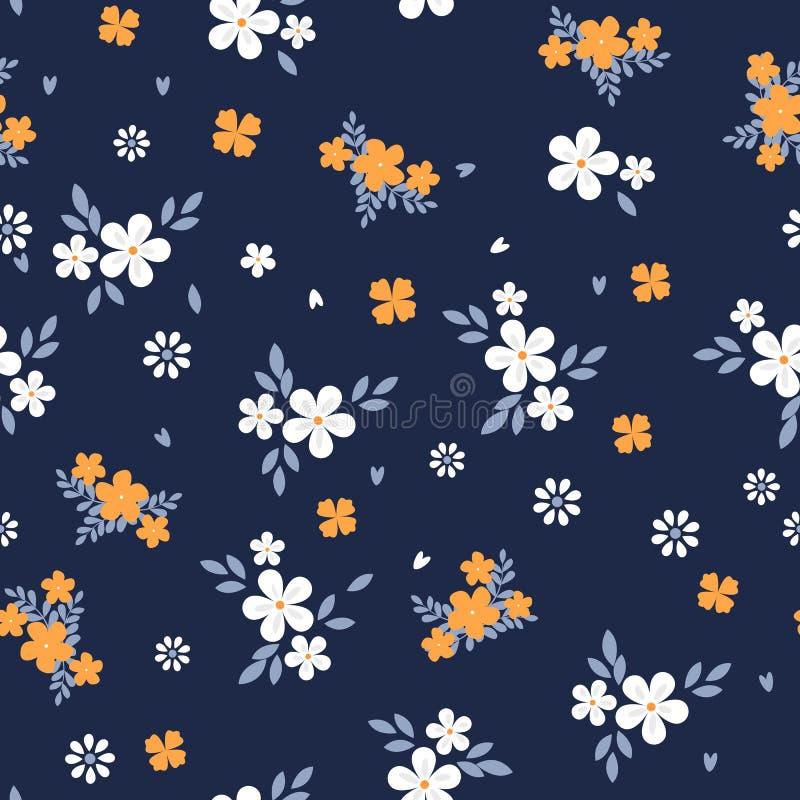 Uitstekende bloemenachtergrond Naadloos vectorpatroon voor ontwerp en manierdrukken Bloemenpatroon met kleine wit en vector illustratie