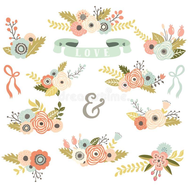 Uitstekende Bloemenboeketreeks stock illustratie