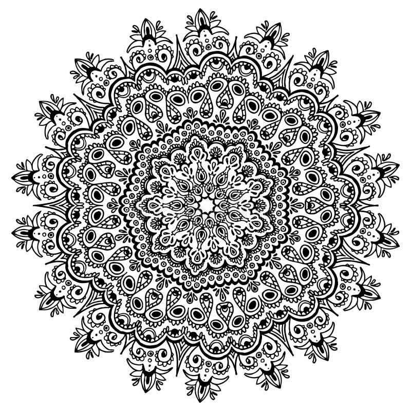 Uitstekende bloemenelementenmandala De stijlillustratie van de hennatatoegering Vector Etnische Decoratie royalty-vrije illustratie