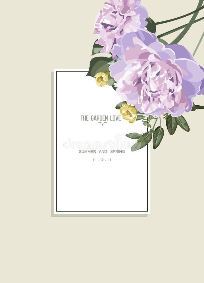 Uitstekende bloemengroetkaart en wit etiket royalty-vrije illustratie