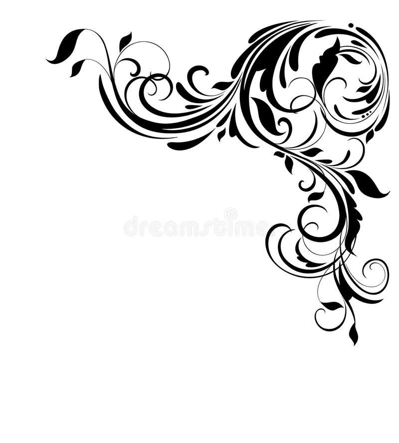 Uitstekende bloemenhoek voor huwelijksontwerp, manieretiketten, groetkaart, restaurant, koffie, hotel, juwelenopslag, embleemmalp royalty-vrije illustratie