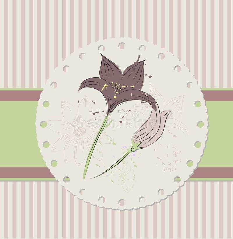 Uitstekende bloemenkaart royalty-vrije illustratie