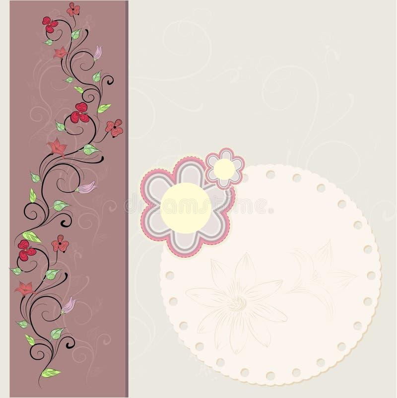 Uitstekende bloemenkaart stock illustratie
