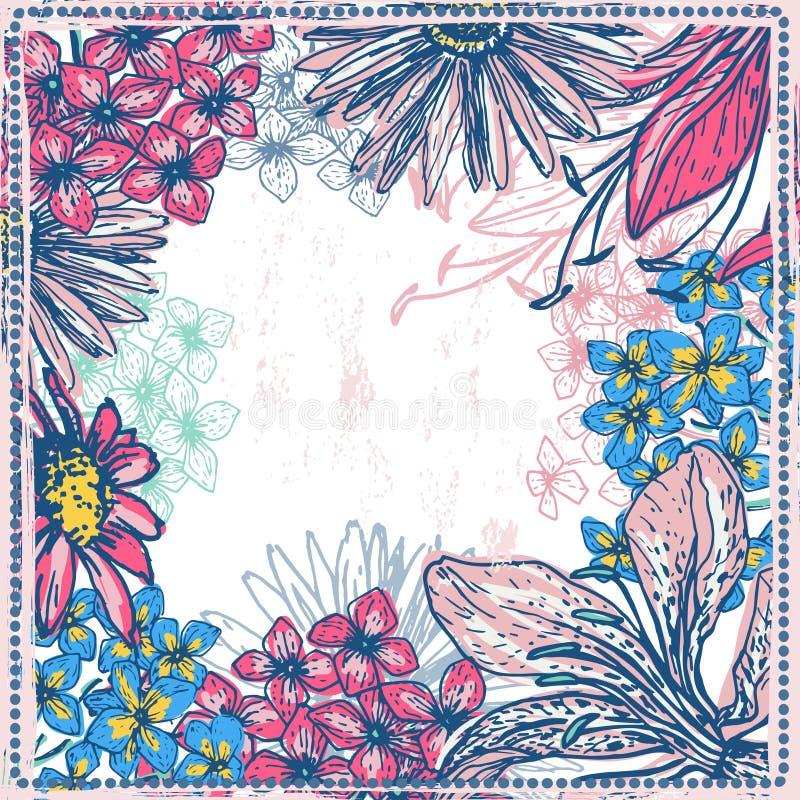 Uitstekende bloemenkaart vector illustratie