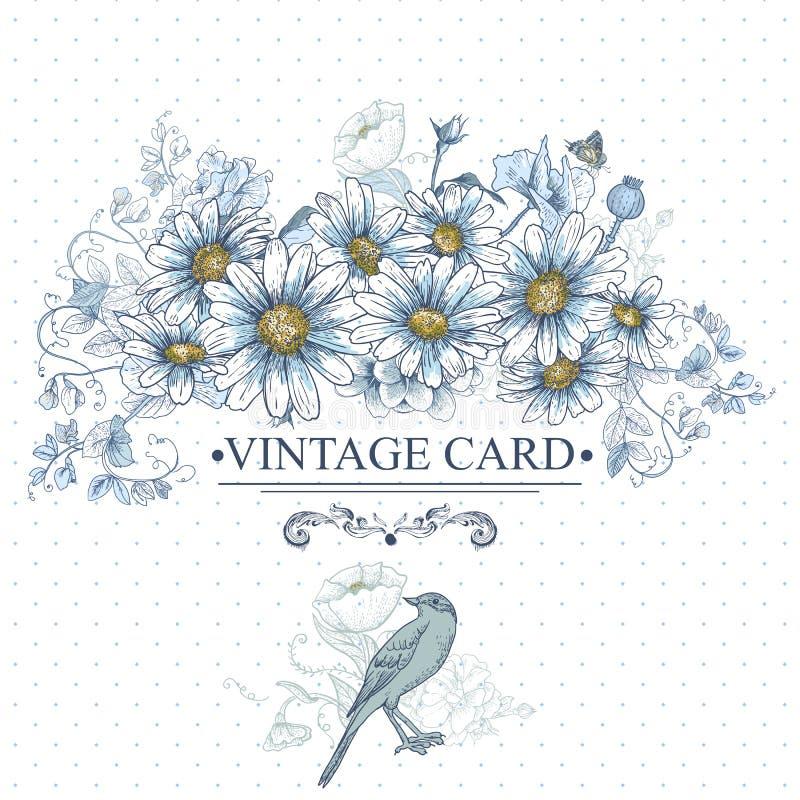Uitstekende Bloemenkaart met Vogels en Madeliefjes vector illustratie