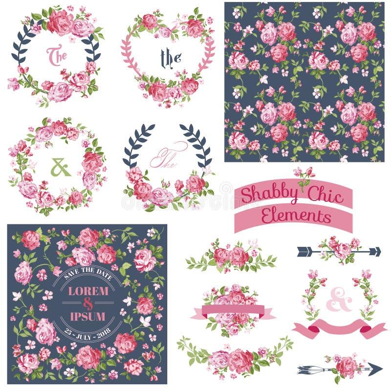 Uitstekende bloemenreeks royalty-vrije illustratie