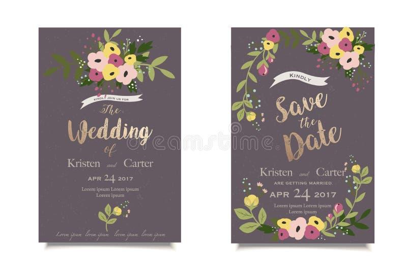 Uitstekende bloemenuitnodiging De uitnodiging of de groetkaart van het huwelijk Donkere achtergrond vector illustratie