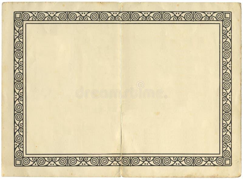 Uitstekende boekpagina met een illustratie stock illustratie