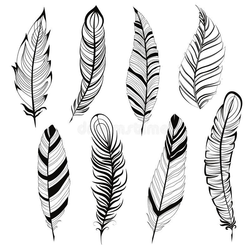 Uitstekende Boheemse veer grote die reeks op witte Hand getrokken vectorillustratie wordt geïsoleerd als achtergrond Malplaatje v vector illustratie