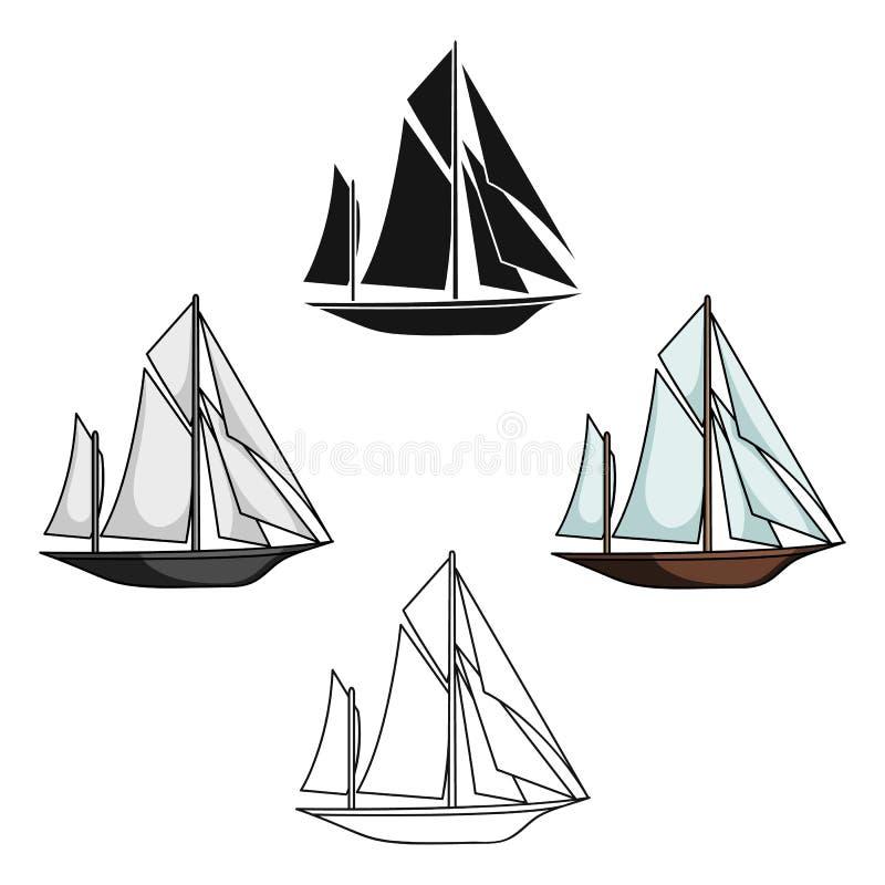 Uitstekende bootontdekkingsreizigers Zeilboot waarop de oude mensen rond de Aarde reisten Schip en watervervoer enig pictogram royalty-vrije illustratie