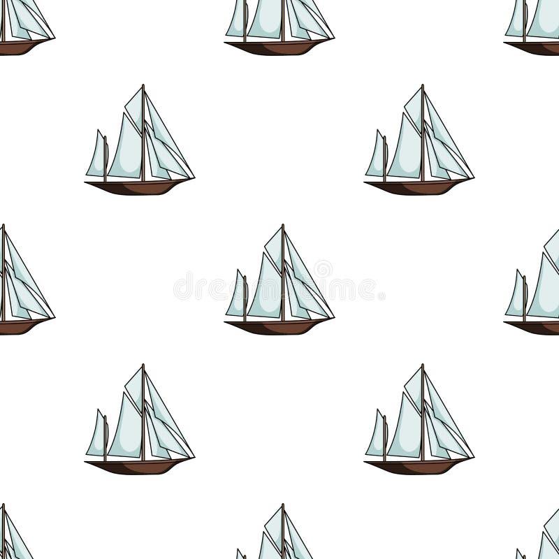 Uitstekende bootontdekkingsreizigers Zeilboot waarop de oude mensen rond de Aarde reisten stock illustratie