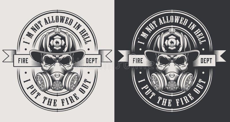 Uitstekende brandbestrijdings zwart-wit emblemen royalty-vrije illustratie