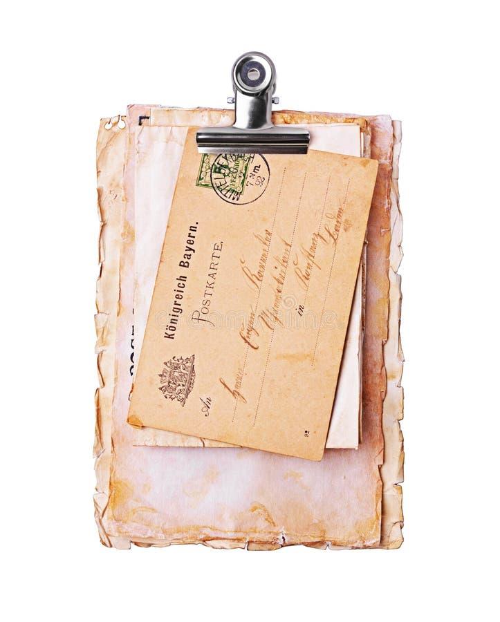 Uitstekende brieven en prentbriefkaaren met handschrifttekst stock afbeeldingen
