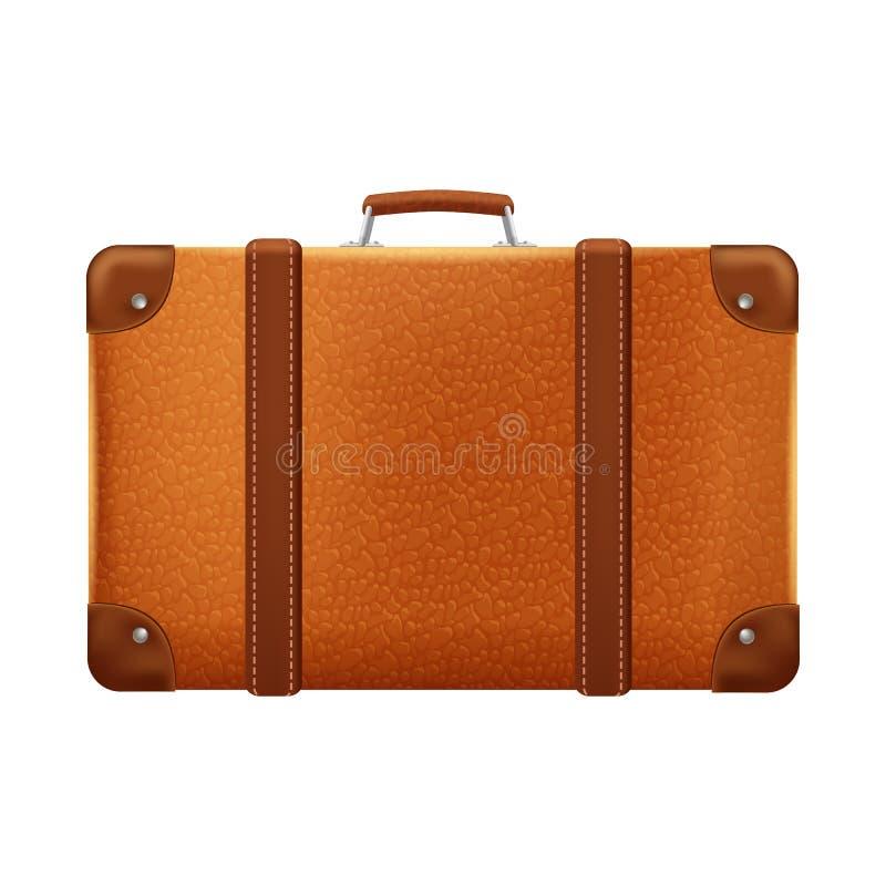 Uitstekende bruine koffer voor reis, vectorillustratie stock illustratie