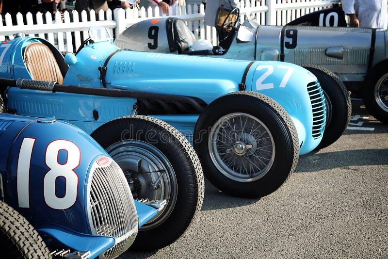 Uitstekende Bugatti-Raceauto's royalty-vrije stock afbeeldingen