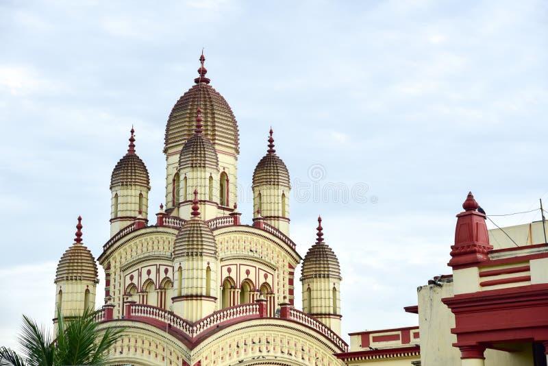 Uitstekende Buitenkanten van Dakshineswar Kali Temple stock afbeelding