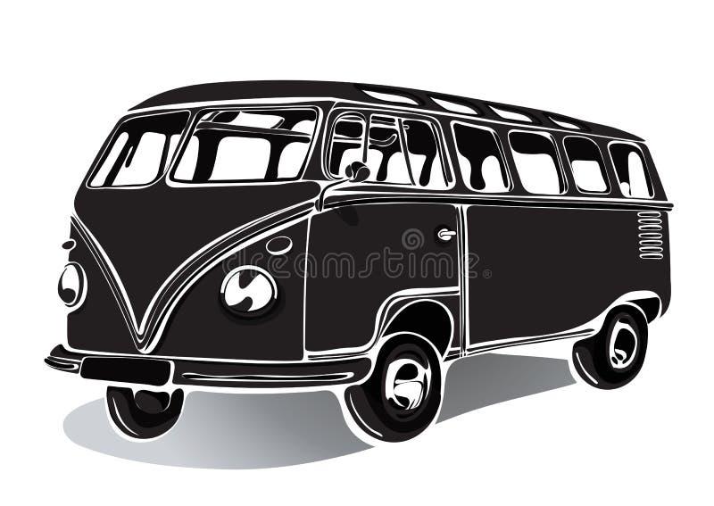 Uitstekende bus, retro auto, zwart-witte tekening, zwart-wit hand-tekening, royalty-vrije illustratie