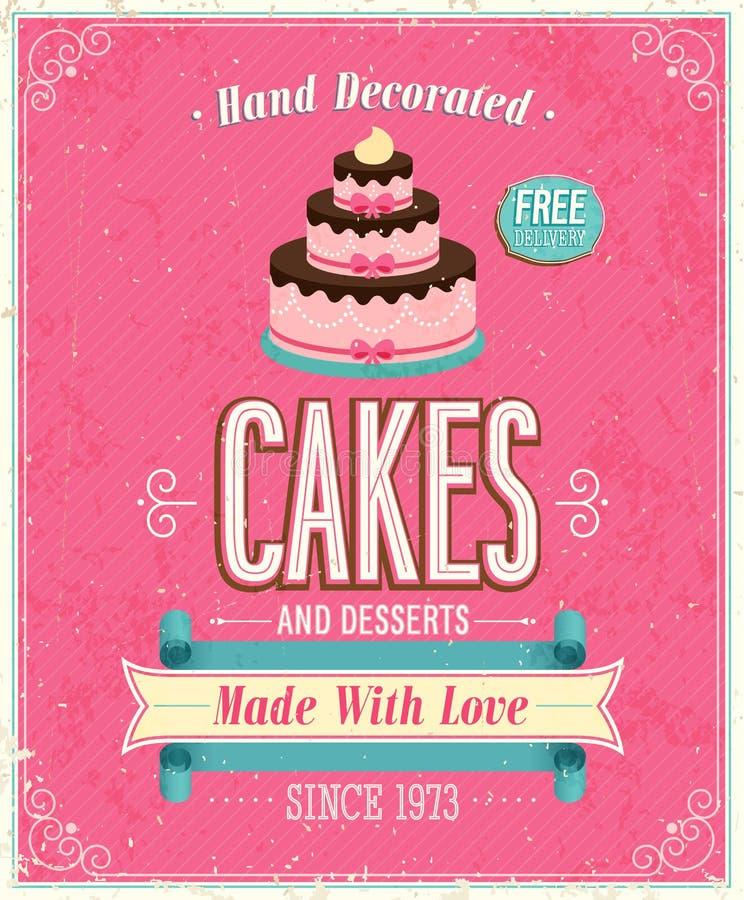 Uitstekende Cakesaffiche. royalty-vrije illustratie