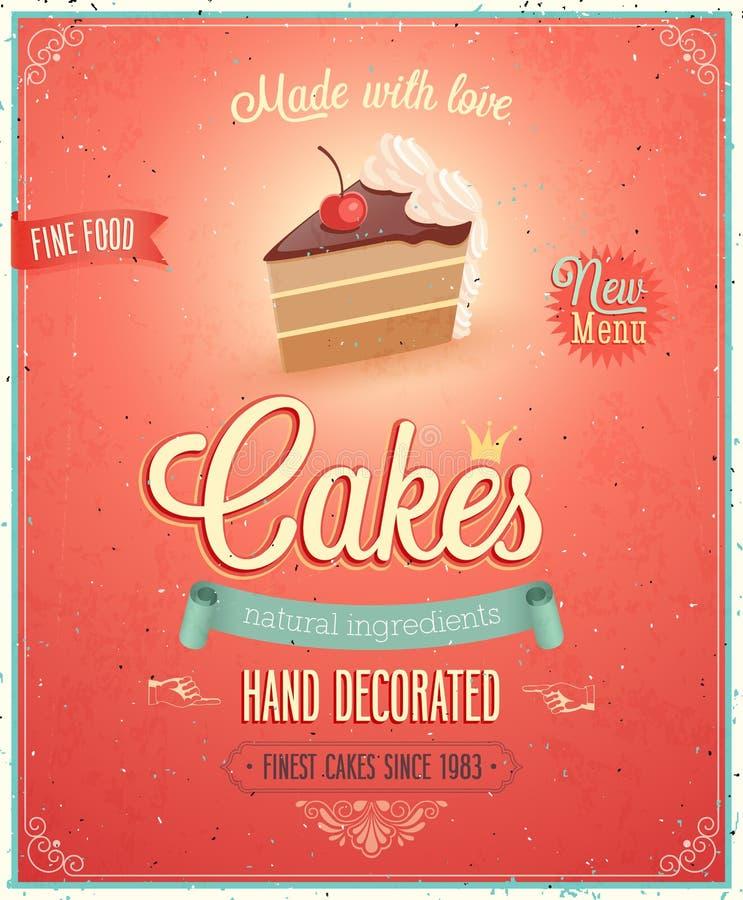 Uitstekende Cakesaffiche. stock illustratie