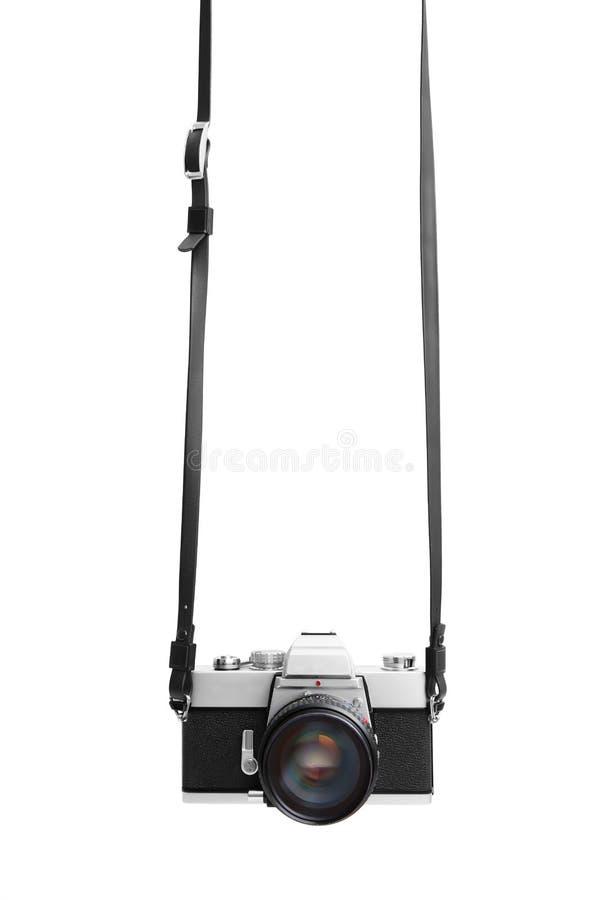 Uitstekende camera die op witte achtergrond DSLR wordt geïsoleerde royalty-vrije stock afbeelding