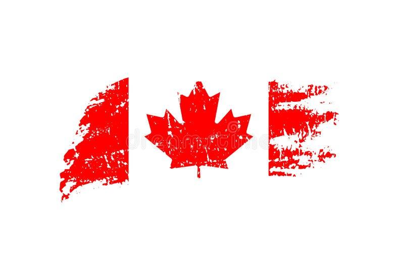 Uitstekende Canadese vlagillustratie Vectorvlag van Canada op grungetextuur stock illustratie