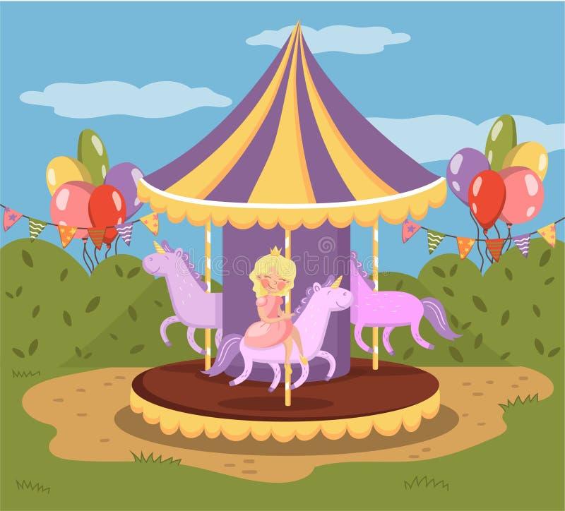 Uitstekende carrousel met paarden, pretpark vectorillustratie royalty-vrije illustratie