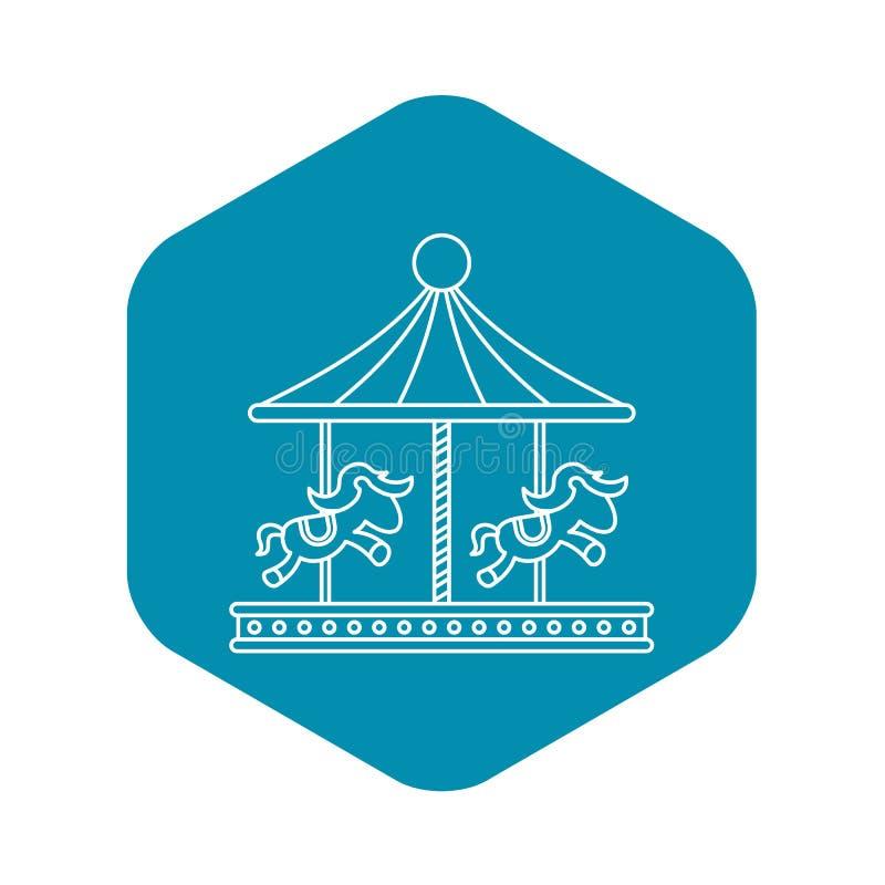 Uitstekende carrousel met paardenpictogram, overzichtsstijl vector illustratie