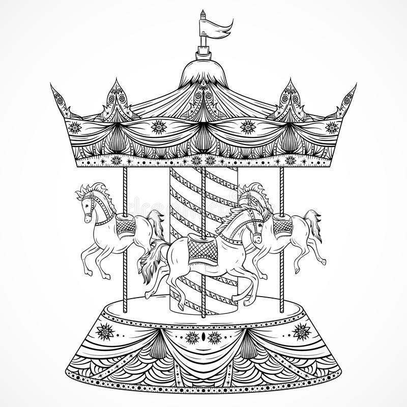 Uitstekende carrousel Vector illustratie vector illustratie