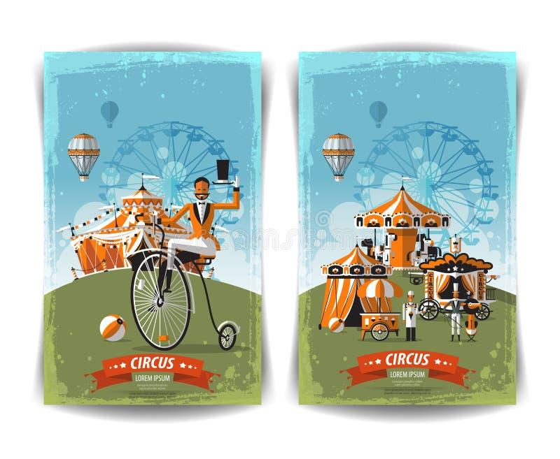 Uitstekende circusaffiche, malplaatje, vlieger, banner stock illustratie