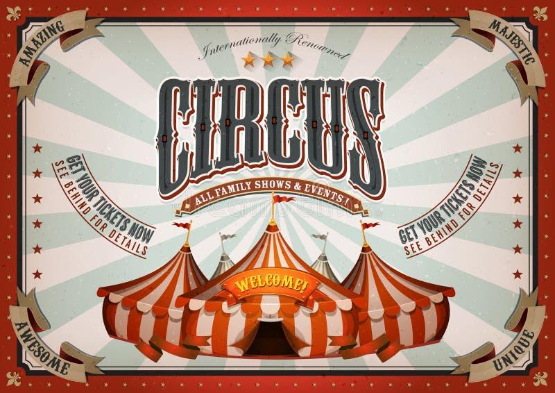 Uitstekende Circusaffiche met Grote Bovenkant royalty-vrije illustratie