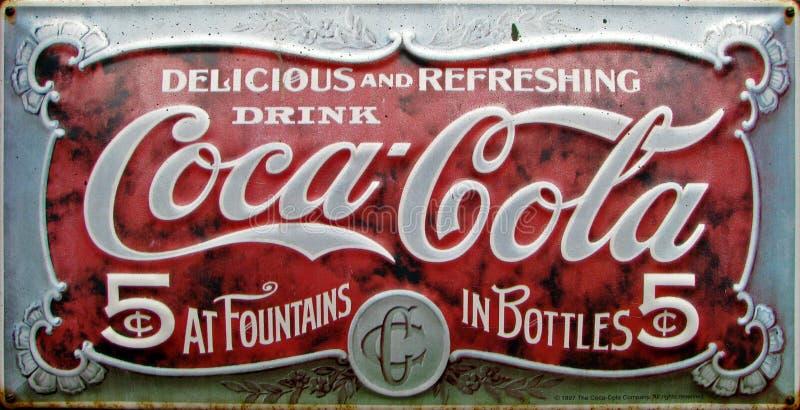Uitstekende coca-colaadvertentie stock afbeelding