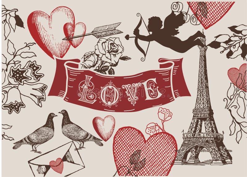 Uitstekende combo van de de liefdebanner van Valentine franch stock afbeeldingen