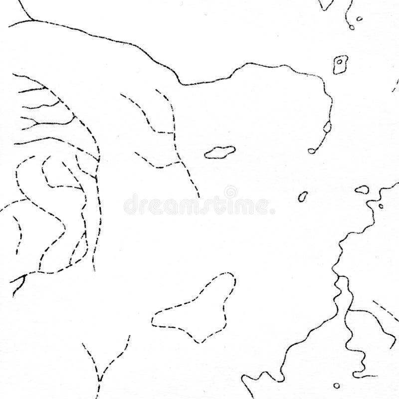 Uitstekende contourafbeelding Natuurlijke drukillustraties van kaarten stock afbeeldingen