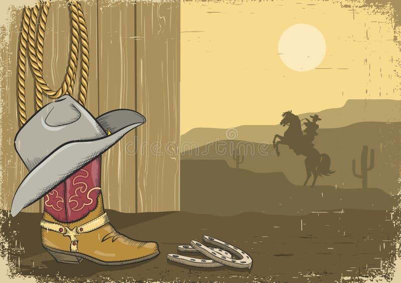 Uitstekende cowboyachtergrond op oud document   vector illustratie