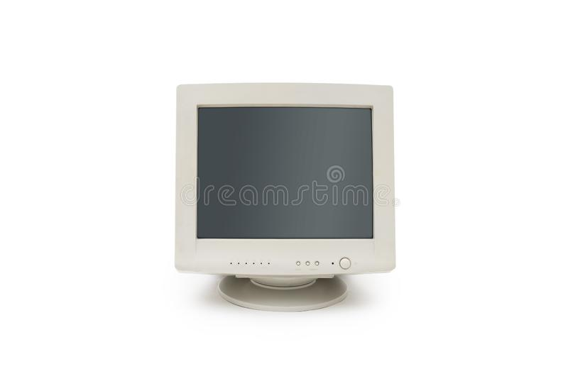 Uitstekende CRT computermonitor op witte achtergrond stock foto's