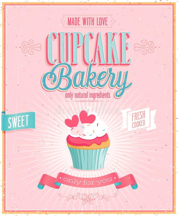 Uitstekende Cupcake-Affiche. vector illustratie
