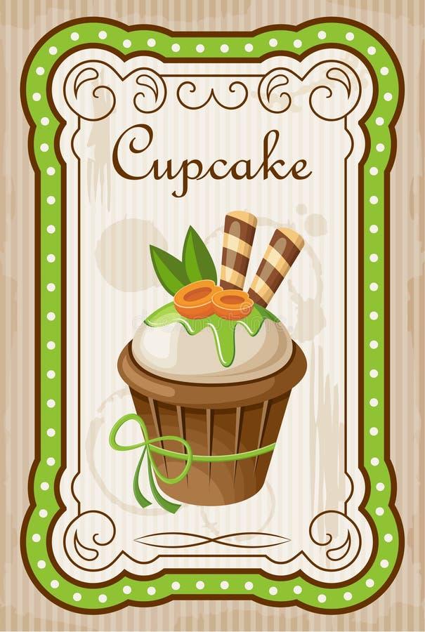Uitstekende cupcakeaffiche vector illustratie