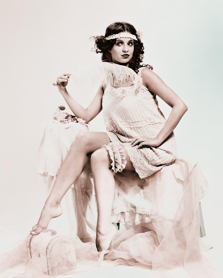 Uitstekende dame in boudoir, retro portret stock afbeelding