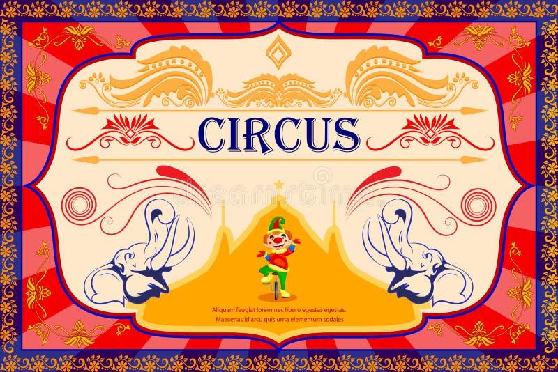 Uitstekende de Afficheuitnodiging van het Circusbeeldverhaal voor Partij Carnaval vector illustratie