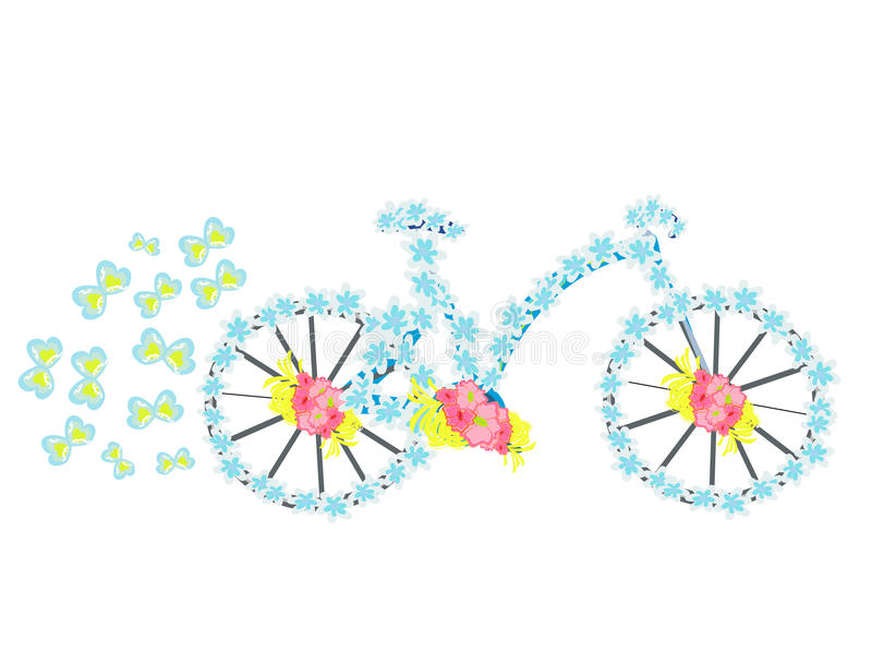 Uitstekende de fietsillustratie van de bloem stock illustratie