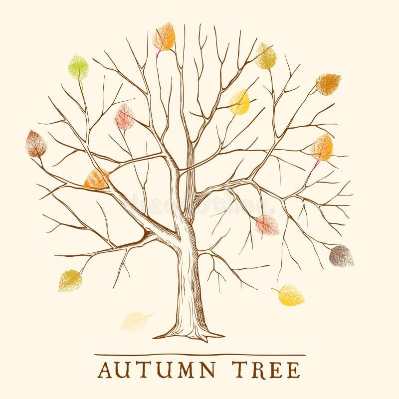 Uitstekende de herfstboom royalty-vrije illustratie