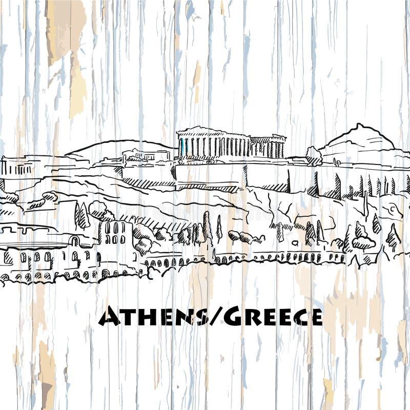 Uitstekende de horizontekening van Athene royalty-vrije illustratie