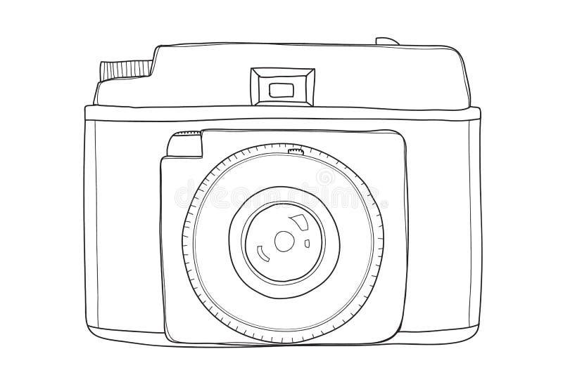 UITSTEKENDE de lijnkunst van de CAMERAhand getrokken vectorbesnoeiing het schilderen illustratie stock illustratie