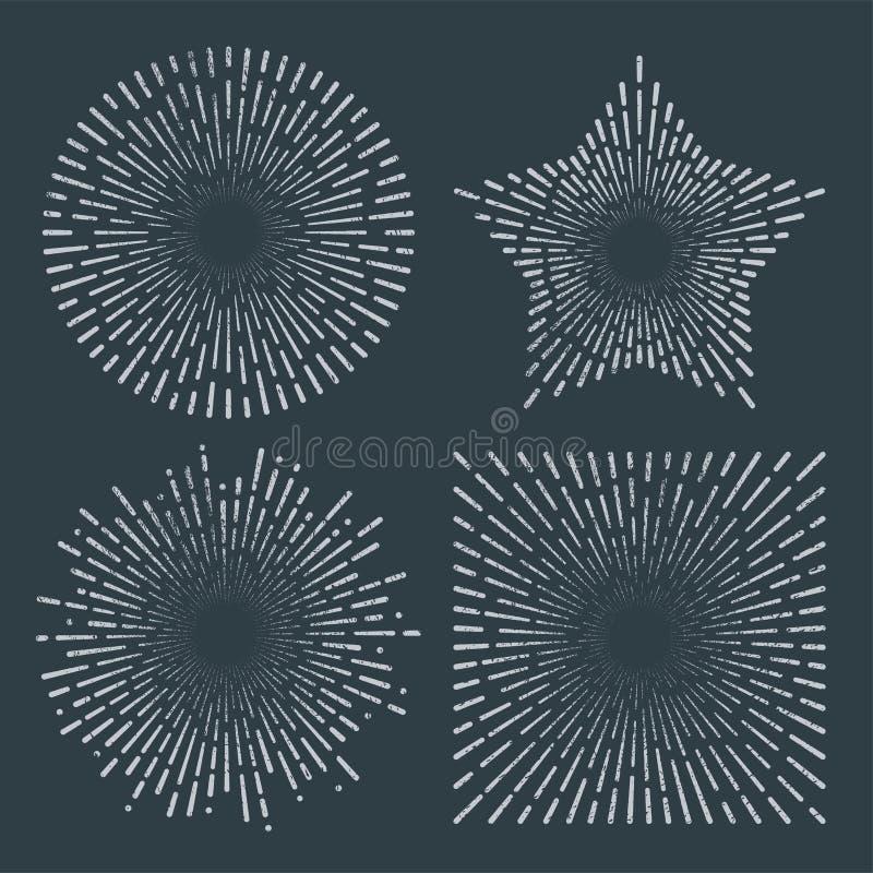 Uitstekende de lijnplons van de zonnestraal starburst abstracte retro zonneschijn royalty-vrije illustratie