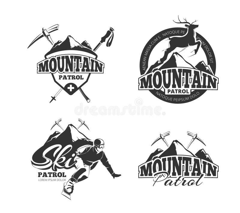 Uitstekende de patrouille vectoremblemen van de skiberg, etiketten, kentekens, geplaatste emblemen royalty-vrije illustratie