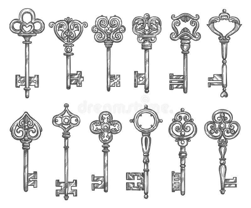 Uitstekende de schetsreeks van sleutelsvector geïsoleerde pictogrammen royalty-vrije illustratie