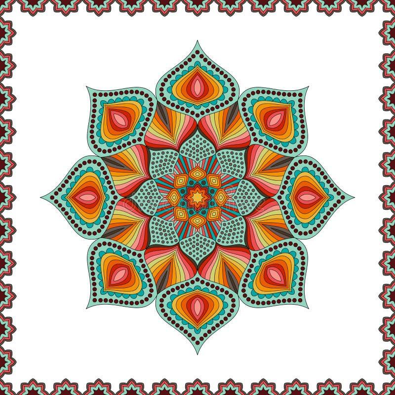 Uitstekende Decoratieve Element Gekleurde Mandala stock illustratie