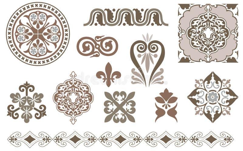 Uitstekende decoratieve elementen stock illustratie
